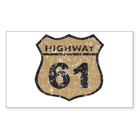 Retro Look Hwy 61 Road Sign Rectangle Sticker