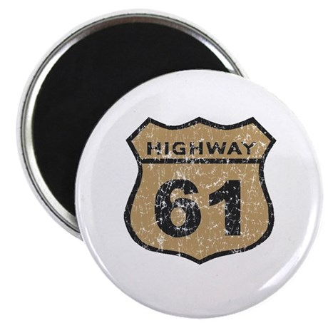 "Retro Look Hwy 61 Road Sign 2.25"" Magnet (100 pack"