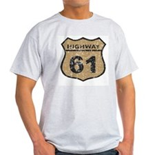 Retro Look Hwy 61 Road Sign Ash Grey T-Shirt