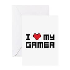 I Love My Gamer Greeting Card