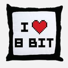 I Love 8 Bit Throw Pillow
