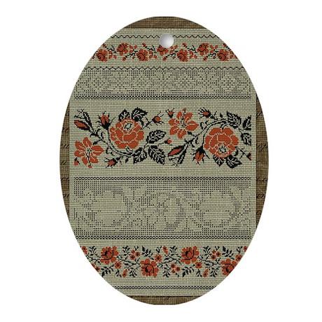Traditional Ukrainian Embroid Ornament (Oval)