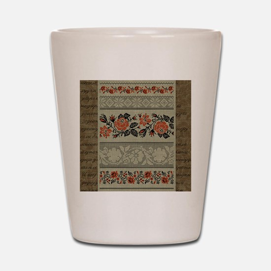 Traditional Ukrainian Embroid Shot Glass
