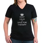 Keep Calm and Therapy Women's V-Neck Dark T-Shirt