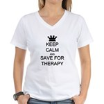 Keep Calm and Therapy Women's V-Neck T-Shirt