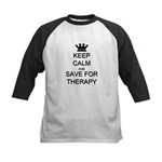 Keep Calm and Therapy Kids Baseball Jersey