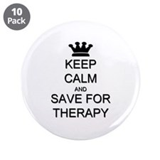 """Keep Calm and Therapy 3.5"""" Button (10 pack)"""