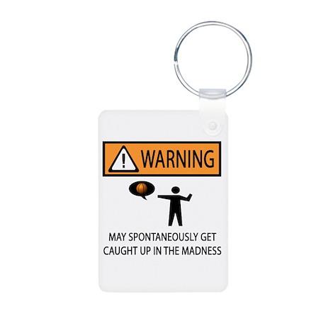 Warning Basketball Madness Aluminum Photo Keychain