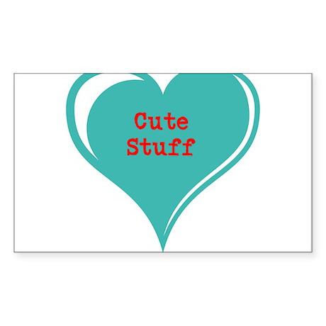 Cute Stuff Candy Heart Valent Sticker (Rectangle 5
