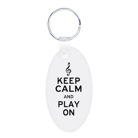 Keep Calm Treble Clef Aluminum Oval Keychain