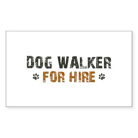 Dog Walker For Hire Sticker (Rectangle)