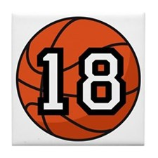 Basketball Player Number 18 Tile Coaster