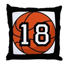 Basketball Player Number 18 Throw Pillow