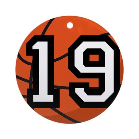 Basketball Player Number 19 Ornament (Round)