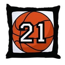 Basketball Player Number 21 Throw Pillow