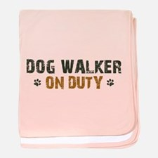 Dog Walker On Duty baby blanket