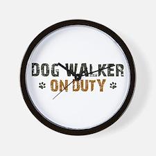 Dog Walker On Duty Wall Clock