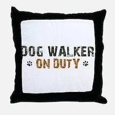 Dog Walker On Duty Throw Pillow