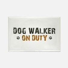 Dog Walker On Duty Rectangle Magnet