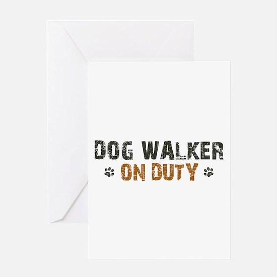 Dog Walker On Duty Greeting Card