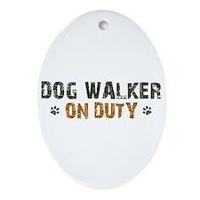 Dog Walker On Duty Ornament (Oval)