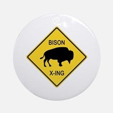Bison Crossing Sign Ornament (Round)