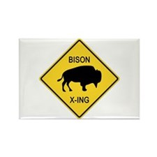 Bison Crossing Sign Rectangle Magnet
