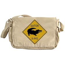 Alligator Crossing Sign Messenger Bag