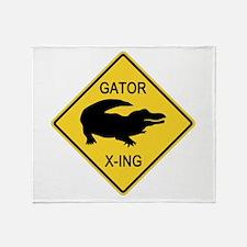 Alligator Crossing Sign Throw Blanket