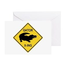 Alligator Crossing Sign Greeting Card
