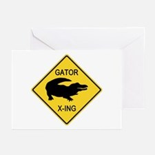 Alligator Crossing Sign Greeting Cards (Pk of 10)