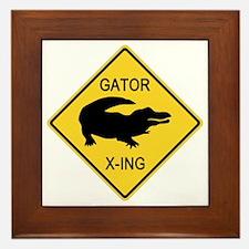 Alligator Crossing Sign Framed Tile