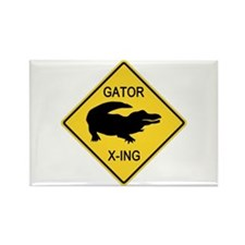 Alligator Crossing Sign Rectangle Magnet