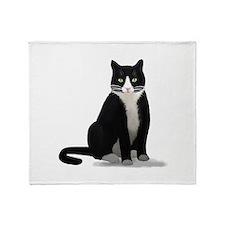 Black and White Tuxedo Cat Throw Blanket