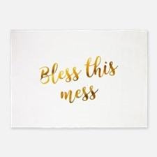 Bless this mess sassy gold foil quo 5'x7'Area Rug