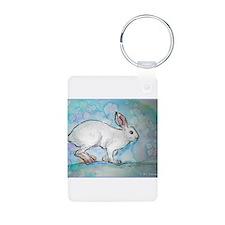 Rabbit! wildlife, winter, art!! Keychains