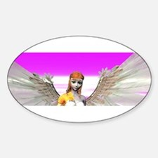 Beautiful Angel With Wings Sticker (Oval)