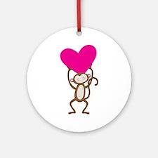 Monkey Heart Ornament (Round)
