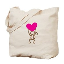 Monkey Heart Tote Bag