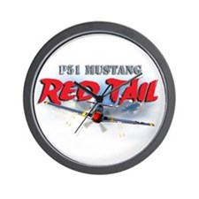 P51 Mustang Red Tail Wall Clock