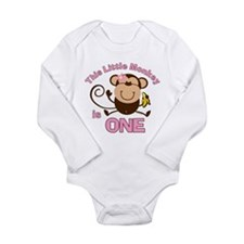 Little Monkey 1st Birthday Girl LS Infant Bodysuit