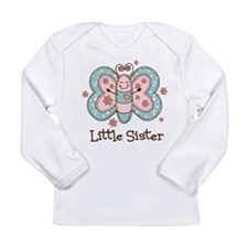 Butterfly Little Sis Long Sleeve Infant T-Shirt
