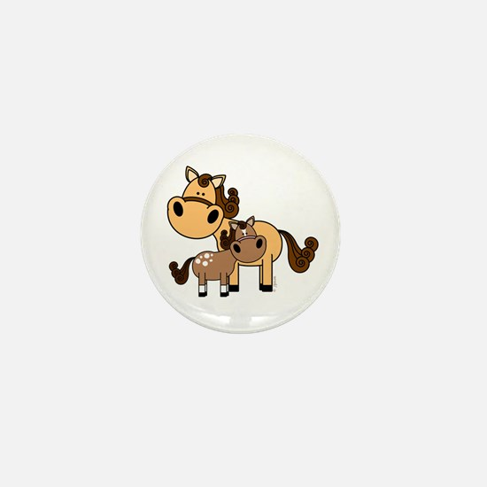 Mama and Baby Horse Mini Button