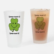 [Your text] Shamrock Smiley Drinking Glass