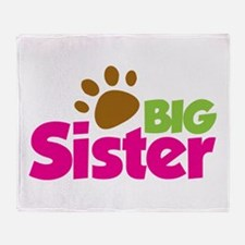 Paw Print Dog Big Sister Throw Blanket