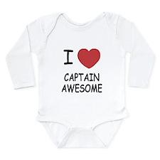 I heart captain awesome Long Sleeve Infant Bodysui