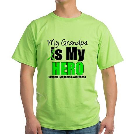 Lymphoma Hero (Grandpa) Green T-Shirt