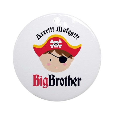 Brown Hair Pirate Big Brother Ornament (Round)