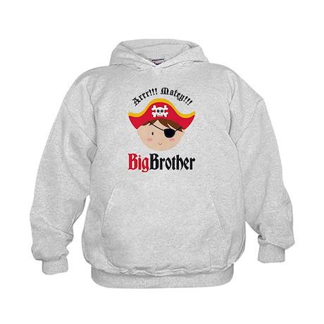 Brown Hair Pirate Big Brother Kids Hoodie