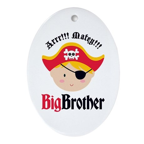 Blonde Hair Pirate Big Brother Ornament (Oval)